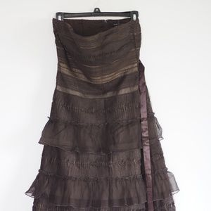 BCBGMaxAzria Strapless Brown Ostrich Feather Dress